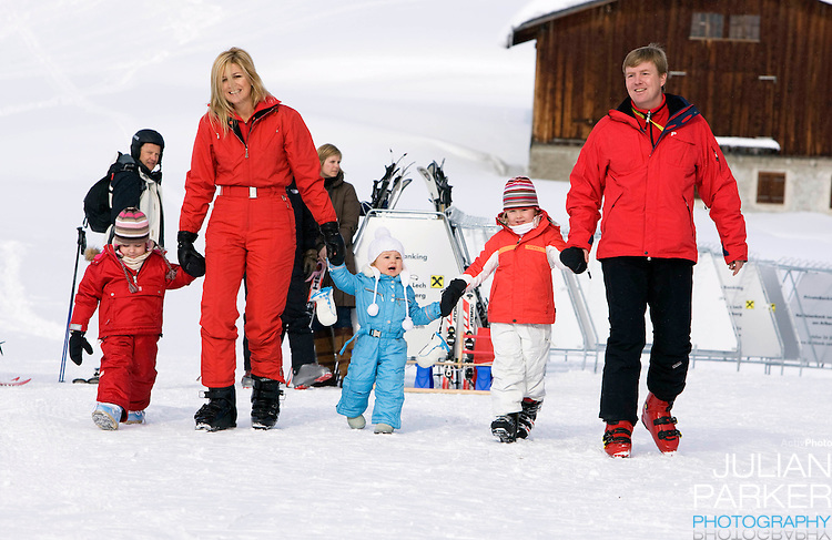 Crown Prince Willem Alexander, and Crown Princess Maxima of Holland with Daughters, Princess Alexia, Princess Catharina Amalia and Princess Ariane attend a Photocall with Members of The Dutch Royal Family during their Winter Ski Holiday in Lech Austria