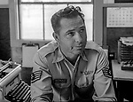 Valley Bomber Editor T/sgt Bill Whitworth.<br /> <br /> March 1964: CAFB, California<br /> Staff of the Valley Bomber, 93rd Bomb Wing, Directory of Information, SAC<br /> Photo by Al Golub/Golub Photography<br /> <br /> Castle is named for Brigadier General Frederick W. Castle, who died on Dec. 24, 1944 flying his 30th bombing mission. He died leading an armada of 2000 B-17s on a strike against German airfields. On the way to the target, an engine failure over Liege, Belgium caused his bomber to fall behind, where it was attacked by Germans and caught fire. He ordered his men to bail out but stayed alone at the controls of the flaming Flying Fortress until it crashed. The entire crew, except Gen. Castle and one airman killed before the bailout order, survived. Gen. Castle received a Medal of Honor posthumously for his bravery.<br /> <br /> Castle became home to the 93rd Bombardment Wing in 1947. Aircraft stationed at Castle included B-29, B-17 and C-54 aircraft, with B-50 bombers arriving in 1949. In 1954, B-47 bombers arrived.  On June 29, 1955, Castle received the Air Force's first B-52. These heavy bombers can hold the equivalent of three railroad cars' worth of fuel. The first Air Force KC-135 jet tanker arrived May 18, 1957<br /> <br /> Castle was selected for closure under the Defense Base Closure and Realignment Act of 1990 during Round II Base Closure Commission deliberations (BRAC 91). The last of the B-52s left the base in 1994, followed by the departure of the last of the KC-135s in early 1995. The base closed September 30, 1995.