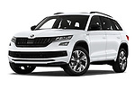 Stock pictures of low aggressive front three quarter view of 2019 Skoda Kodiaq Sportline 5 Door SUV Low Aggressive