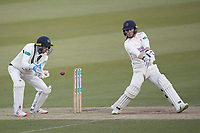 Alex Davies of Lancashire CCC cuts fiercely through point for a boundary during Middlesex CCC vs Lancashire CCC, Specsavers County Championship Division 2 Cricket at Lord's Cricket Ground on 13th April 2019