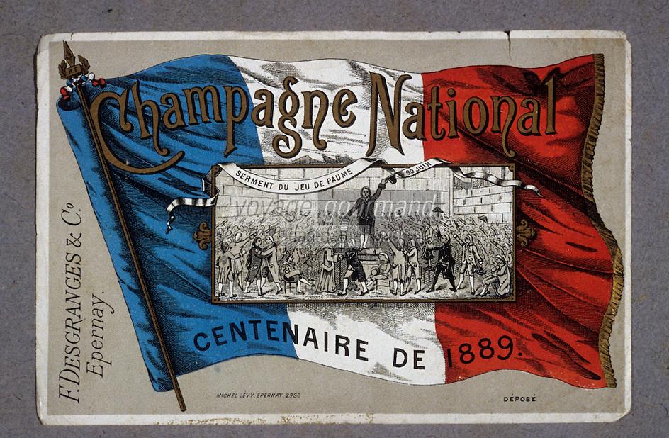 Europe/France/Champagne-Ardenne/51/Marne/Epernay: Musée municipal - Ancienne étiquette de champagne pour le centenaire de la révolution