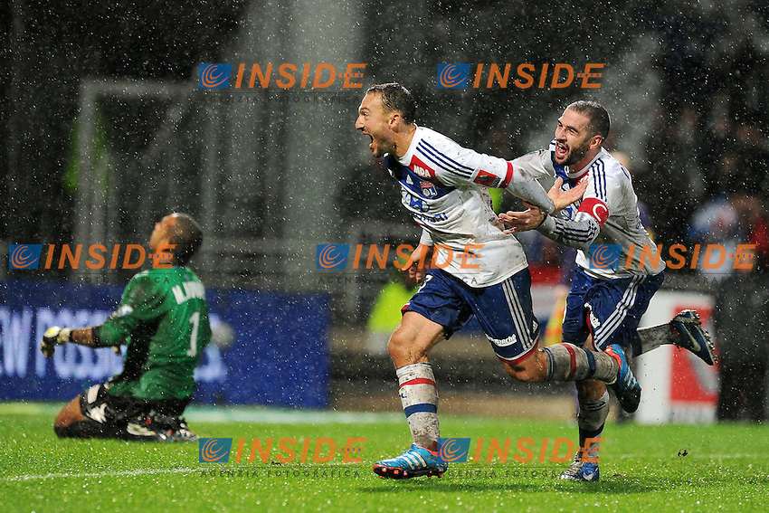 joie de Steed Malbranque - Lisandro Lopez (Lyon) .Francia Ligue 1.Football Calcio 2012/2013.Lyon vs Bastia.Foto Panoramic / Insidefoto .ITALY ONLY..