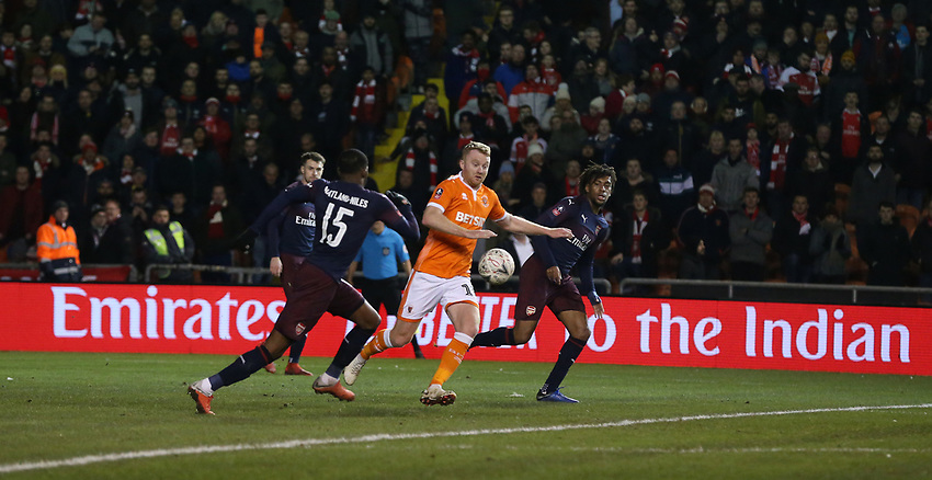 Blackpool's Chris Taylor and Arsenal's Ainsley Maitland-Niles<br /> <br /> Photographer Stephen White/CameraSport<br /> <br /> Emirates FA Cup Third Round - Blackpool v Arsenal - Saturday 5th January 2019 - Bloomfield Road - Blackpool<br />  <br /> World Copyright © 2019 CameraSport. All rights reserved. 43 Linden Ave. Countesthorpe. Leicester. England. LE8 5PG - Tel: +44 (0) 116 277 4147 - admin@camerasport.com - www.camerasport.com