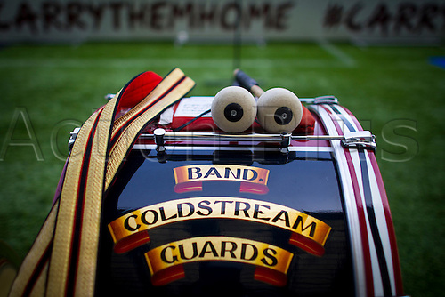 12.03.2016. Twickenham, London, England. RBS Six Nations Championships. England versus Wales.  Detail of a Coldstream Guard's drum pictured before kickoff.