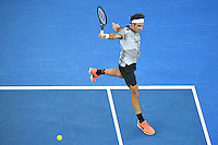 January 29, 2017: Roger Federer of Switzerland in action in the Men's Final against Rafael Nadal of Spain on day 14 of the 2017 Australian Open Grand Slam tennis tournament in Melbourne, Australia. Photo Sydney Low