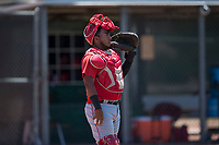 Los Angeles Angels catcher Mario Sanjur (2) during an Extended Spring Training game against the Giants Black at the San Francisco Giants Training Complex on May 25, 2018 in Scottsdale, Arizona. (Zachary Lucy/Four Seam Images)