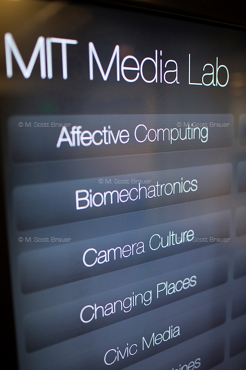 A computerized directory throughout the Media Lab building allows visitors and researchers to connect and learn about projects in the lab at MIT in Cambridge, Massachusetts, USA.