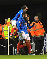 Ben Close of Portsmouth is mobbed after scoring to make the score 3-2 to Portsmouth during Portsmouth vs Rotherham United, Sky Bet EFL League 1 Football at Fratton Park on 26th November 2019