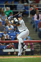 Trenton Thunder first baseman Dante Bichette (29) at bat during a game against the Binghamton Mets on August 8, 2015 at NYSEG Stadium in Binghamton, New York.  Trenton defeated Binghamton 4-2.  (Mike Janes/Four Seam Images)
