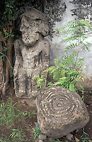 Pre-Columbian stone statue and petroglyphs from Isla de Ometepe, Nicaragua. Courtyard of El Museo Ometepe in Altagracia.