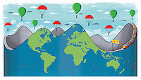 Global roller coaster with money balloons above