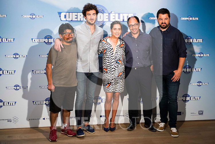 "The left to the right, Juan Carlos Aduviri, Miki Esparbe, Maria Leon, Jordi Sanchez and Andoni Agirregomezkorta during the presentation of the spanisn film ""Cuerpo de Elite"" in Madrid. August 24. 2016. (ALTERPHOTOS/Borja B.Hojas)"