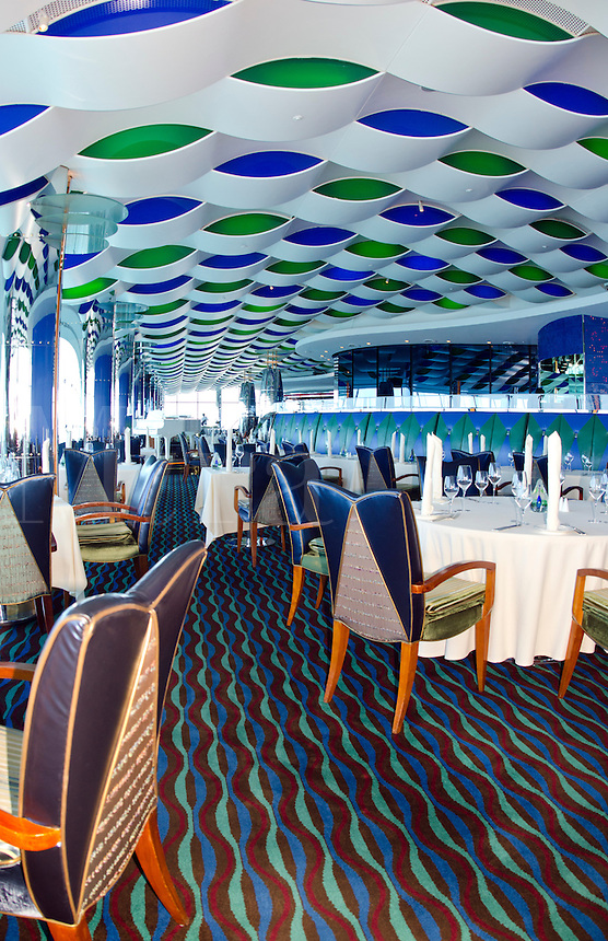 Interior of top floor restaurant at worlds only 7 star hotel the Burj Al Arab in Dubai in UAE where the economy and money is thriving in the United Arab Emirates
