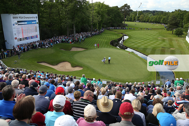 View of the 18th from the grandstand during Round Two of the 2015 BMW PGA Championship over the West Course at Wentworth, Virginia Water, London. 22/05/2015Picture David Lloyd, www.golffile.ie.