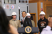 United States President Barack Obama arrives to speak about creating new energy jobs during a visit to the jobs training center at the International Brotherhood of Electrical Workers Local 26 headquarters on Tuesday, February 16, 2010 in Lanham, Maryland. President Obama announced loan guarantees to expand an existing nuclear facility near Augusta, Georgia that will help create over 3,500 construction jobs and 850 permanent operations jobs, and will help provide power to over 550,000 homes and 1.4 million people. .Credit: Mark Wilson - Pool via CNP