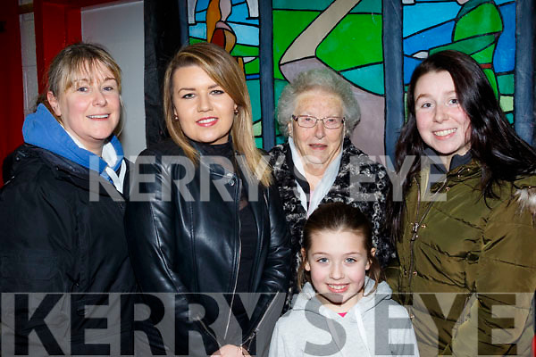 Amy, Eileen, Katie&Nellie O'Sullivan with Ellen Goodwin from Castlegregory enjoying the Pantomime in the Community hall last Saturday night.
