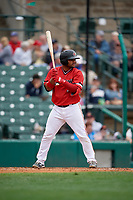 Rochester Red Wings Tomas Telis (18) bats during an International League game against the Charlotte Knights on June 16, 2019 at Frontier Field in Rochester, New York.  Rochester defeated Charlotte 11-5 in the first game of a doubleheader that was a continuation of a game postponed the day prior due to inclement weather.  (Mike Janes/Four Seam Images)