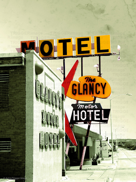 Edited vintage scene in USA with motel signs