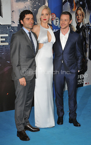 Oscar Isaac, Jennifer Lawrence &amp; James McAvoy at The &quot;X-Men : Apocalypse&quot; global fan screening, BFI Imax, Charlie Chaplin Walk, London, England, UK, on Monday 09 May 2016.<br /> CAP/CAN<br /> &copy;CAN/Capital Pictures /MediaPunch ***NORTH AMERICA AND SOUTH AMERICA ONLY***