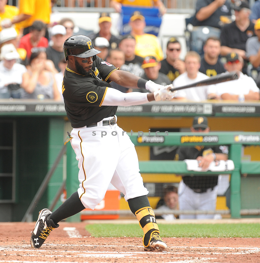 Pittsburgh Pirates Josh Harrison (5) during a game against the St. Louis Cardinals on August 27, 2014 at PNC Park in Pittsburgh PA. The Pirates beat the Cardinals 3-1.