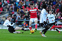 Callum O'Dowda of Bristol City is tackled by Oli McBurnie of Swansea City during the Sky Bet Championship match between Bristol City and Swansea City at Ashton Gate in Bristol, England, UK. Monday 02 February 2019