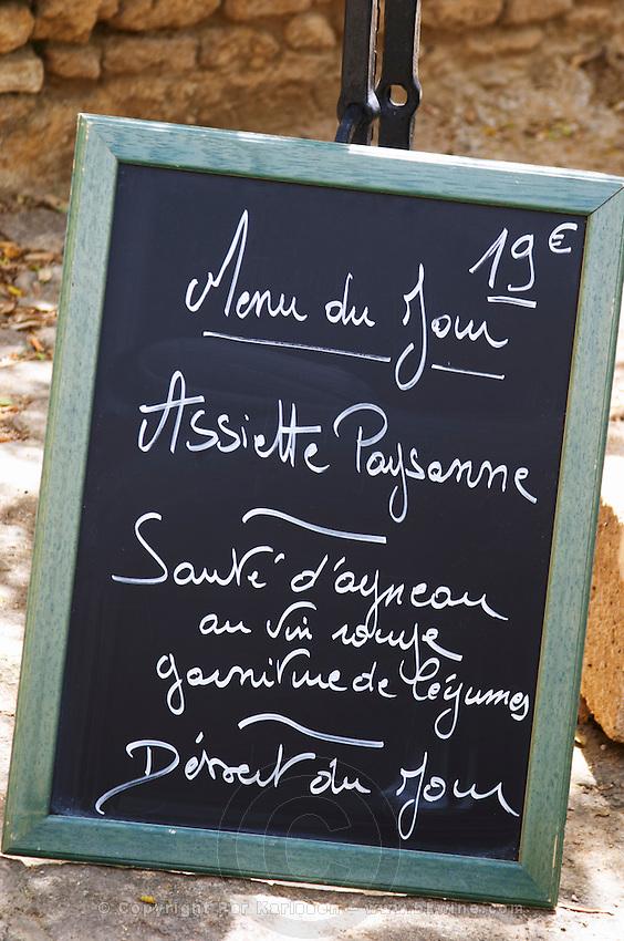 chalk board restaurant verger des papes chateauneuf du pape rhone france