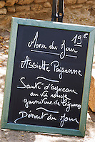 chalk board restaurant verger des papes chateauneuf du pape rhone france