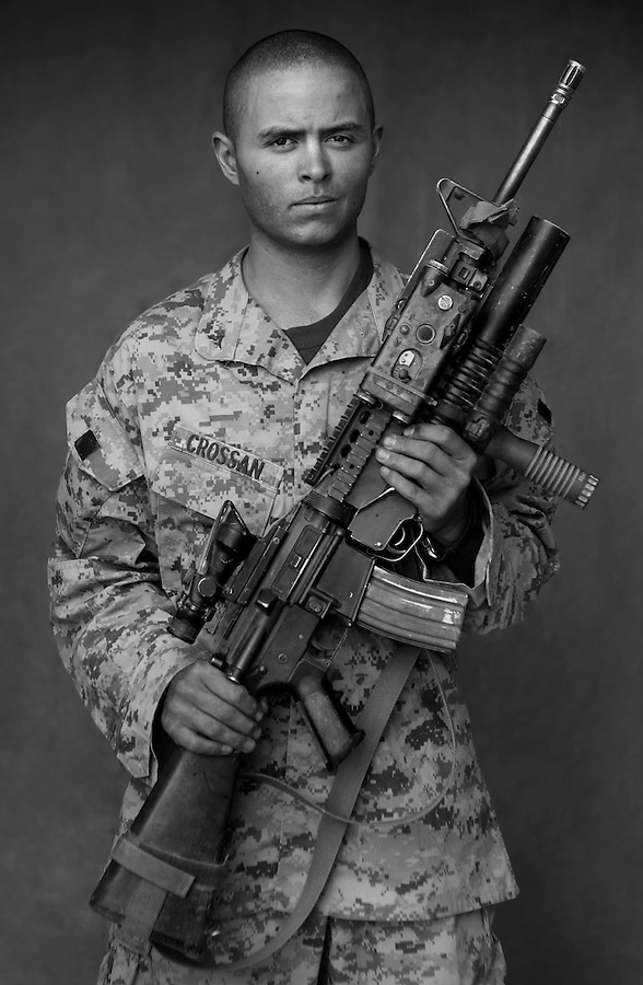 Lcpl. James Crossan, 20, North Bend, Washington, 1st Platoon, Kilo Co., 3rd Battalion 1st Marines, 1st Marine Division, United States Marine Corps, at the company's firm base in Haditha, Iraq on Sunday Oct. 22, 2005.