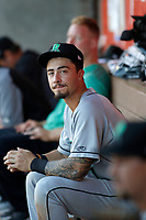 Dayton Dragons third baseman Jonathan India (7) in the dugout during a game against the Lansing Lugnuts at Cooley Law School Stadium on August 10, 2018 in Lansing, Michigan. Lansing defeated Dayton 11-4.  (Robert Gurganus/Four Seam Images)