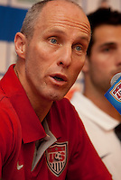 Head Coach Bob Bradley of the US Men's National Team during a press conference in Chicago, Illinois prior to their match vs. Honduras..