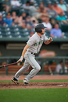 Clinton LumberKings Davis Bradshaw (5) at bat during a Midwest League game against the Great Lakes Loons on July 19, 2019 at Dow Diamond in Midland, Michigan.  Clinton defeated Great Lakes 3-2.  (Mike Janes/Four Seam Images)