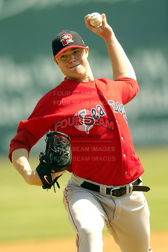 Portland Sea Dogs pitcher Jon Lester during a game versus the Norwich Navigators at Dodd Stadium in Norwich, Connecticut on May 29, 2005.  (Ken Babbitt/Four Seam Images)