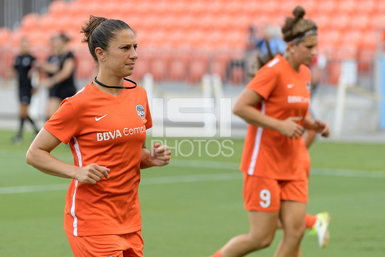 Houston, TX - Saturday June 17, 2017: Carli Lloyd warming up during a regular season National Women's Soccer League (NWSL) match between the Houston Dash and the Orlando Pride at BBVA Compass Stadium.