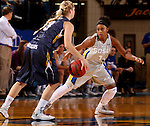 BROOKINGS, SD - OCTOBER 30:  Alexis Alexander #1 from South Dakota State University applies pressure to Kahlie Peterson #3 from South Dakota School of Mines in the first half of their exhibition game Thursday night at Frost Arena in Brookings. (Photo by Dave Eggen/Inertia)