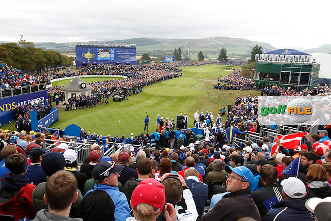 The 1st tee during the Sunday Singles Matches at the 2014 Ryder Cup at Gleneagles. The 40th Ryder Cup is being played over the PGA Centenary Course at The Gleneagles Hotel, Perthshire from 26th to 28th September 2014.: Picture Thos Caffrey, www.golffile.ie: \28/09/2014\