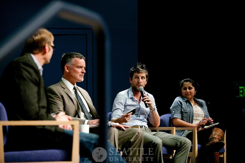 Dan Nordstorm of Outdoor Research speaks at Seattle University Albers School of Business. Photography by Meryl Schenker