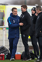Spurs U18 Coach Scott Parker welcomes Liverpool manager Steven Gerrard vduring the U18 Premier League Cup match between Tottenham Hotspur and Liverpool at Tottenham Training Ground, Hotspur Way, London, England on 10 January 2018. Photo by Andy Rowland / PRiME Media Images