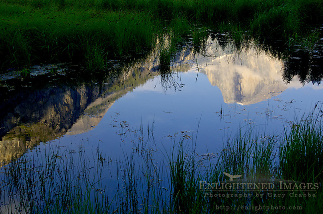 Cloud on Half Dome at sunset reflected in water, Cooks Meadow, Yosemite Valley, Yosemite National Park, Callifornia