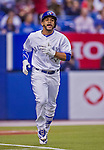 4 April 2015: Toronto Blue Jays infielder Devon Travis in action during an exhibition game against the Cincinnati Reds at Olympic Stadium in Montreal, Quebec, Canada. The Blue Jays defeated the Reds 9-1 in the second of two MLB weekend exhibition games. Mandatory Credit: Ed Wolfstein Photo *** RAW (NEF) Image File Available ***