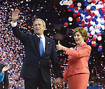 President Bush and first lady Laura Bush salute the delegates at the end of the Republican National Convention last night at Madison Square garden in New York City on Thursday, Sept. 2, 2004...