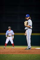 St. Lucie Mets relief pitcher Matt Blackham (24) looks in for the sign during a game against the Florida Fire Frogs on April 19, 2018 at Osceola County Stadium in Kissimmee, Florida.  St. Lucie defeated Florida 3-2.  (Mike Janes/Four Seam Images)