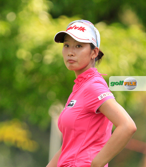 Chella Choi (KOR) on the 9th tee during Round 3 of the HSBC Women's Champions at the Sentosa Golf Club, The Serapong Course in Singapore on Saturday 7th March 2015.<br /> Picture:  Thos Caffrey / www.golffile.ie