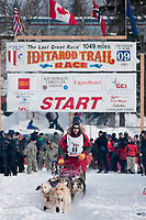 David Sawatzky team leaves the start line during the restart day of Iditarod 2009 in Willow, Alaska