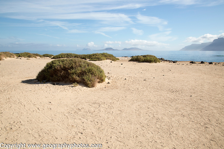 Calm Atlantic Ocean landscape, Caleta de Famara, Lanzarote, Canary islands, Spain