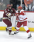 Joe Rooney 17 of Boston College and Wisconson ? battle. The Boston College Eagles defeated the University of Wisconsin Badgers 3-0 on Friday, October 27, 2006, at the Kohl Center in Madison, Wisconsin in their first meeting since the 2006 Frozen Four Final which Wisconsin won 2-1 to take the national championship.<br />