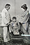 Photo shows an old photo of Lafcadio Hearn and his wife Setsu and son Kazuo on display at the Lafcadio Hearn museum in Matsue, Shimane Prefecture, Japan on 05 Nov. 2012. Photographer: Robert Gilhooly.