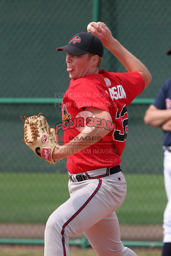 Atlanta Braves minor leaguer Tommy Hanson during Spring Training at Disney's Wide World of Sports on March 14, 2007 in Orlando, Florida.  (Mike Janes/Four Seam Images)