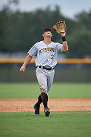 Pittsburgh Pirates Hunter Owen (2) settles under a pop up during an Instructional League game against the New York Yankees on September 29, 2017 at the Yankees Minor League Complex in Tampa, Florida.  (Mike Janes/Four Seam Images)