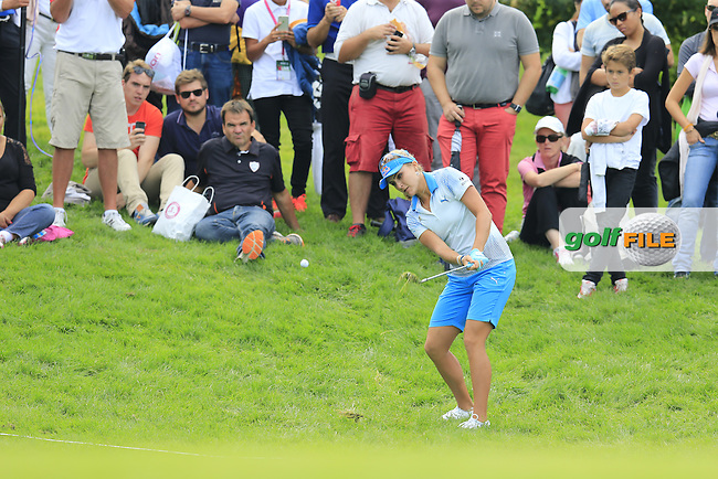 Lexi Thompson (USA) chips onto the par3 14th green during Sunday's Final Round of the LPGA 2015 Evian Championship, held at the Evian Resort Golf Club, Evian les Bains, France. 13th September 2015.<br /> Picture Eoin Clarke | Golffile