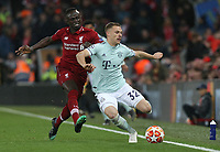 Bayern Munich's Joshua Kimmich under pressure from Liverpool's Sadio Mane<br /> <br /> Photographer Rich Linley/CameraSport<br /> <br /> UEFA Champions League Round of 16 First Leg - Liverpool and Bayern Munich - Tuesday 19th February 2019 - Anfield - Liverpool<br />  <br /> World Copyright © 2018 CameraSport. All rights reserved. 43 Linden Ave. Countesthorpe. Leicester. England. LE8 5PG - Tel: +44 (0) 116 277 4147 - admin@camerasport.com - www.camerasport.com